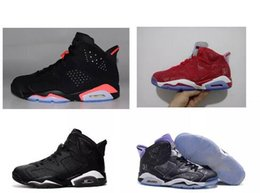 Wholesale Space Boots - Black cats Discount Retro VI 6 black infared black red Mens basketball Shoes 6s space jam Basket footwear outdoor sneaker boots Slam Dunk