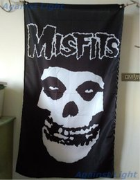 Wholesale Punk Music - Misfits Flag 90 x 150 cm Polyester Danzig FIEND SKULL Black Music Punk Rock Fabric Banner