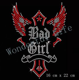 Wholesale Rhinestone Cross Iron Transfer - Free shipping Bad Girl Cross Iron On Rhinestone Transfer red with white crystal
