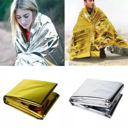 Wholesale foil survival blankets - Emergency Blanket Waterproof Shelter Rescue Golden Sliver Insulation Foil Thermal Blanket Retain Body Heat Outdoor Camping Survival