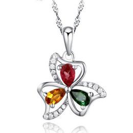 Wholesale Clover Design Necklaces - Elegant 925 Sterling Silver Summer Flower Tourmaline Pendant Luxury Crystal Clover Design Necklace Pendant Jewelry Gift For Women