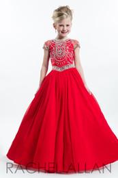 Elegantes blaues Rot scherzt Brautkleider mit bodenlangen Erstkommunionkleider mit Perlen für Mädchen billig von Fabrikanten
