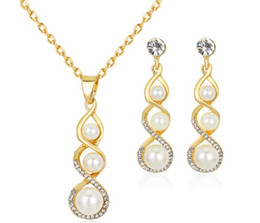 Wholesale White Twisted Pearl Necklace - Lady Simple Neckace and Earrings set Twist Around White Pearls Crystals Choker Ear Dangles Fashion Jewelry Gift