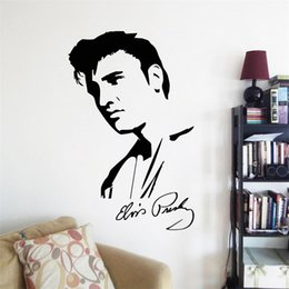 Wholesale Classical Murals - 74x48cm Elvis Presley Portrait Wall Sticker Removable Art Mural Decal for Home Decoration Children's Bedroom Kids Room