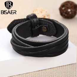 Wholesale Warp Chains - Wholesale- Handmade Genuine Leather Bracelet Wristband Braided Charm Bracelet Punk Warp Cuff Bracelets & Bangles for Women Men Jewerly
