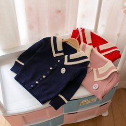 Wholesale Kids Cardigan Clothing - 2017 kids clothes Korean children's clothing autumn and winter children sweater girl navy wind cardigan sweater children