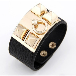 Wholesale Hip Hop Wristbands - Wristband Rock Punk Colorful PU Leather Gold Metal Decoration Wide Wrap Bracelets Bangles for Women Men Hip Hop Jewelry D0078