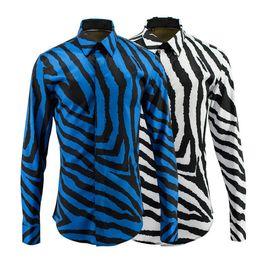 Wholesale Down Lining - New Arrival Men's 3D Print Shirt Zebra lines Fashion Pattern Design Long Sleeve Slim Fit Men Casual Shirt fashionabl Dress Shirt