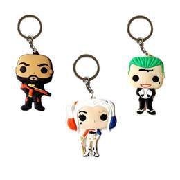 Wholesale Toy Cars Brands - Wholesale Brand New Funko pop Model Keychain KeyRing DC Suicide Squad Harley Joker 7cm PVC Figure Key Chain Decorative Toy