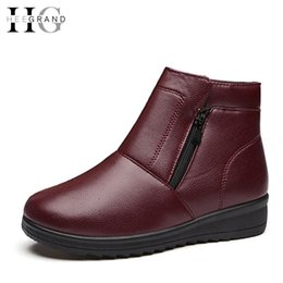 Wholesale wholesale woman boots - Wholesale- HEE GRAND Plush Winter Boots Woman Waterproof Zip Wedges Mother Shoes Woman 2016 Casual Slip On Ankle Boots Size 35-41 XWX5087