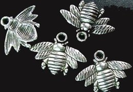 Wholesale tibetan bee - 150pcs Tibetan silver cute bee charms 16x21mm A742