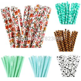 Wholesale green party drinks - Wholesale-25pcs lot Patterned Paper Straws for Kids Birthday Wedding Decoration Party Straws Supplies Paper Drinking Straws