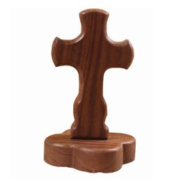 Wholesale Europe Christian - Wood Tabletop Cross Standing Hand Made Home Decorations Jesus Christian Wooden Table Desktop Arts Craft Home Gifts