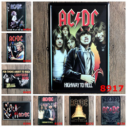 Wholesale Dc Tin - Antique 20*30cm Metal Tin Sign AC DC Band Iron Paintings Highway To Hell Bells Tin Poster Vocal Concert For Bithday Gifts Bar 4rjv