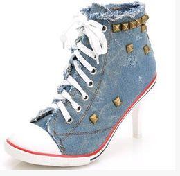 Wholesale High Heel Jeans Shoes - 2015 New Fashion Ladies Pumps Sapato Feminino Rivets Canvas Jeans Party Shoes Women Femme Denim High Heels Shoes