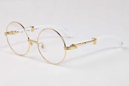 Wholesale White Round Plastic Glasses Frames - 2017 New Brand Designer Sunglasses Lunettes Rimless Loop Round Black Brown Clear Lens Gold Metal Wood Feet Buffalo Sun glasses