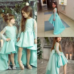Wholesale Big Bow Mini Dress - Mint Green Big Bow Flower Girl Dresses Lace Hi Lo Communion Gowns With Long Sleeves Mini Flower Kids Dress For Weddings