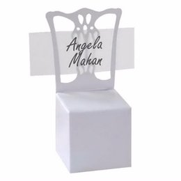 Wholesale Place Card Chair Favor Box - Wholesale- 12pcs lots Chair Place Card Holder and Favor Box best for candy boxes and wedding favors box,event party supplies