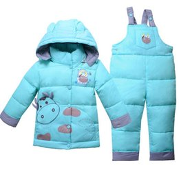 Wholesale Down Coat Overall Girl - 2017 Winter Children's Clothing Set Kids Ski Suit Overalls Baby Girls Boys Down Coat Warm Snowsuits Jackets+bib Pants 2pcs set