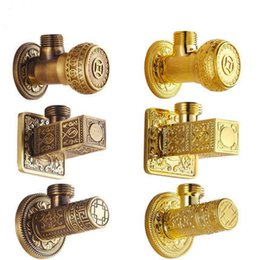 Wholesale Triangle Angle Wholesale - Vintage Retro Filling Valve Square Angle Valves Antique Carved Basin Sink Adapter Toilet Triangle Diverter Bathroom Accessory