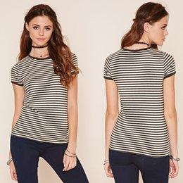 Wholesale Cotton Tops Shirts - Factory T-shirt women striped t shirt crop women Summer 2017 cotton blend casual top O collar shirt europe tops Women's Clothing