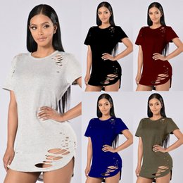 Wholesale Women S Cut T Shirt - Casual Womens O-Neck Hollow Cut Out Hole Plain Ripped Distressed Tops Ladies Short Sleeve Blouse Pullover T-Shirt Alternative Shirt Tee