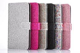 Wholesale Iphone Rain Drop - Luxury Diamond Bling Rain Drop coque Rhinestone Leather Cover Case for Iphone 5s 6 6s plus 7 7plus