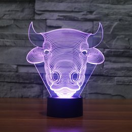 Wholesale Touch Control Usb Lamp - Free Shipping Color changing Flashing touch sensor control Bull Acrylic 3D Toro LED Children Bedroom Night Light LED OX Head USB table Lamp