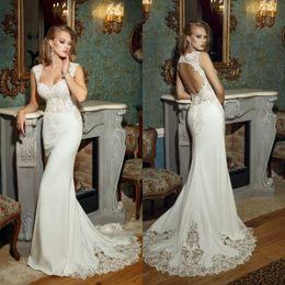 Wholesale wedding dresses square neckline - Bien Savvy 2017 Mermaid Lace Wedding Dresses Backless Appliqued Square Neckline Sweep Train Vintage Trumpet Bridal Gowns