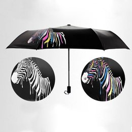 Wholesale Umbrella Packaging - windproof umbrella rain women color changing umbrella sunshade Folding Parasol zebra mini package men's umbrella for gift ZA2985