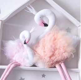 Wholesale Handmade Cushions - Handmade Pink Flamingo Decorations Supplies Room Decorations Cute Stuffed Animal Toys Baby Swan Pillow Cushion Kids Dolls Wedding Toys Gifts