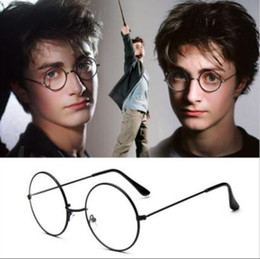 Wholesale Plain Goggles - 5 Colors Harry Potter Glasses Round Eyeglass Frames Halloween Cosplay Black Gold Silver Plain Mirror Fashion Glasses CCA6695 100pcs