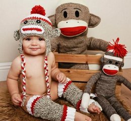 Wholesale Sock Monkey Beanie Hats - Pirate Sock Monkey Crochet Knitted Hat Newborn Infant Toddler Baby Girl Boy Xmas Cap Winter Kids Children Animal Beanie Earflaps 100% Cotton