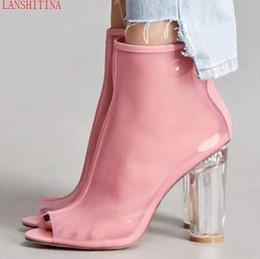 Wholesale Transparent Pvc Boot - 2017 women transparent heel Boots PVC ankle booties peep toe gladiator booties clear heel PVC transparent boots air