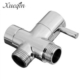 "Wholesale Chrome Brass Shower Diverter - Wholesale- Xueqin Free Shipping Brass 1 2"" Bathroom Shower Faucet Tee Connector Chrome Plated 3 Way Diverter Toilet Bidet Shattaf Valve"