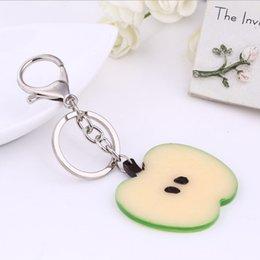 Wholesale Home Keyrings - 8 Styles! Fresh Fruit Keychain Apple  Watermelon  Lemon  Orange Pitaya  Kiwifruit Keyrings Key Holder