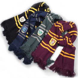 Wholesale Green House Sales - 190cm Length Gryffindor Slytherin Ravenclaw Hufflepuff House 4 Color 100% Original Version Cosplay Scarf Warm Knit Scarf Sale