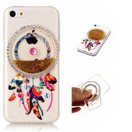 Wholesale Dreamcatcher Design - Dreamcatcher Flowing Sand TPU Soft Phone Case with Quicksand Liquid Sand in Round Box Design for Apple iPhone 5C Case