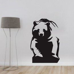 Wholesale Black Bear Small Wall Decal - Grizzly Bear Painting On The Wall Self Adhesive Film Home Decoration Wall Stickers Animals Art Decals