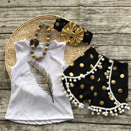 Wholesale Printed Flannel Shirt - Children Clothes Summer Kids Toddler girl feather printed t-shirts +tassel dot shorts+dot headband 3 pcs sets baby clothing