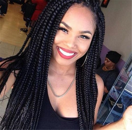 """Wholesale Crocheted Wigs - braided lace front wigs BOLETO 22"""" synthetic lace front wigs box braids crochet braids black synthetic wigs for black women"""