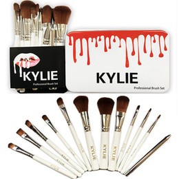 Wholesale Set Up Boxes Wholesale - 12 PCS Kylie Makeup Brushes Professional Brush Kits Brands Foundation Make Up Beauty Tools Cosmetic Brush Sets in Retail Iron Box