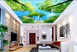 Wholesale Heat Roof - Wholesale-3d wallpaper custom mural non-woven The blue sky white clouds the sky flying pigeon condole roof background wall ceiling murals