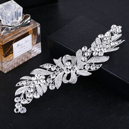 Wholesale Elegant Wedding Bridal Jewelry Headpiece - New Elegant Bridal Hair Comb Tiara Silver Color Long Leaf Flower Big Headpiece Wedding Hair Comb Accessories Jewelry for Women
