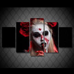 lona de pintura abstrata da cara Desconto 5 Pçs / set Emoldurado HD Impresso arte da lona pintura abstrata coringa mulher rosa pálido sangrar sala de estar decoração imprimir cartazes e cópias