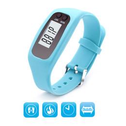 Wholesale Lcd Bracelet Watch - Fashion LCD Digital Pedometer Multifunction Fitness Run Step Walking Distance Calorie Counter Watch Bracelet 8 Color
