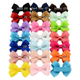 Wholesale Cute Ribbon Bows - 20 Color Baby Girl Mini Ribbon Hair Bows Hairbands Cute Girls Candy Color Princess Hair Clips Small Hair Accessory 100pcs lot