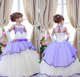 Wholesale Kids Feather Vests - Lavender White Little Girl Wear Formal Dresses Kids Lace Sheer Neck Ball Gown Flower Girl Dress