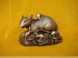 "Wholesale Bronze Rat - Chinese Bronze Statue Figurine Rat Mouse 4.8""Wide"