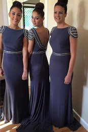 Wholesale Grey Junior Bridesmaid Dresses - Custom Made Bridesmaid Dresses 2017 Cheap Grey Beaded Maid Of Honor Gowns With Low Back Junior Formal Wedding Guest Dress